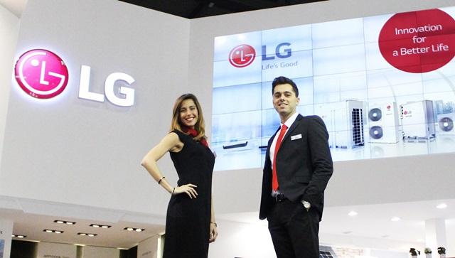 LG전자가 현지시간 15일부터 18일까지 유럽 최대 공조전시회인 모스트라 콘베뇨 엑스포(Mostra Convegno Expocomfort) 2016'에 참가해 고효율∙친환경 기술을 집약한 공조 솔루션을 대거 선보인다. 모델이 LG전자를 소개하고 있다.