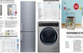 이탈리아 소비자 매체인 '알트로콘수모' 3월호의 드럼세탁기와 냉장고 성능 평가 결과와 LG 드럼세탁기, 냉장고 제품 연출이미지입니다.