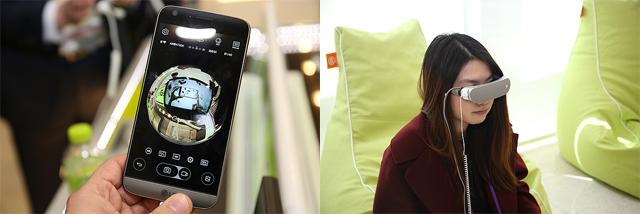 LG G5와 프렌즈 체험하는 모습