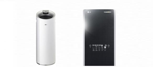 LG 퓨리케어 공기청정기와 LG 트롬 스타일러
