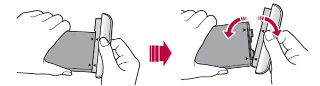 양손으로 배터리와 모듈을 잡고 그림과 같은 방향으로 분리한다.