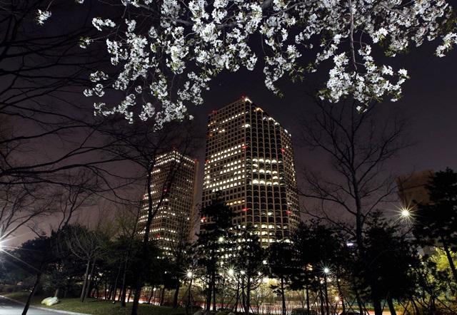 LG전자가 지난 7일부터 여의도 LG트윈타워에서 점등광고 'G5 타임'을 실시한다. LG트윈타워 서관의 실내조명이 'G5'를 형상화하고 있는 실제 모습을 봄꽃축제가 한창인 여의도공원 근방에서 야간에 촬영했다.