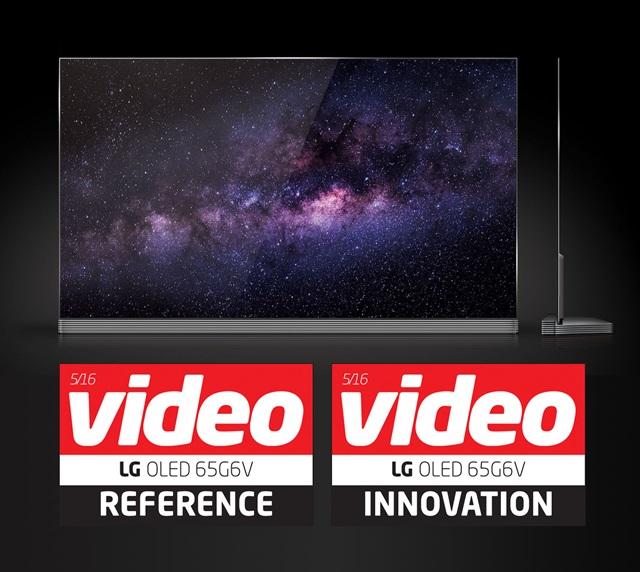 유럽의 대표적인 AV 전문지 비데오(Video)가 실시한 TV 종합평가에서  LG 시그니처 올레드 TV가 역대 최고점인 918점을 받으며 초프리미엄의 진가를 보여줬다.최고의 품질을 갖췄을 경우에만 부여하는 '최고제품(Reference)'과 새로운 가치를 보여준 제품에 부여하는 '혁신제품(Innovation)'에 동시에 선정된 것도 LG 시그니처 올레드 TV가 처음이다. 사진은 비데오 최고 점수를 획득한 LG 시그니처 올레드 TV와 '최고제품', '혁신제품' 로고.