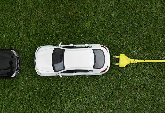 자동차와 충전을 위한 플러그가 잔디 위에 놓여있는 이미지입니다.