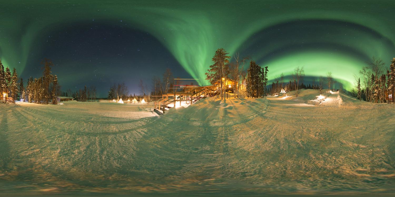 LG 360 월페이퍼 - 캐나다 옐로나이트 오로라마을 이미지