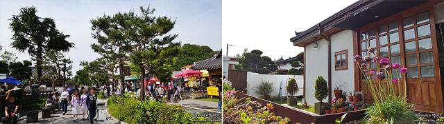 G5로 촬영한 한옥마을거리(좌) 및 게스트하우스(우) 이미지