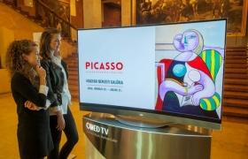 LG전자는 헝가리 국립 미술관에서 열리고 있는 '피카소 展'에 77형 울트라 올레드 TV(모델명: 77EC9800) 1대, 55형 올레드 TV(모델명: 55EA9800) 2대 등 총 3대의 올레드 TV를 설치하고 피카소의 작품들을 소개하고 있다. LG 올레드 TV는 차원이 다른 화질로 피카소의 개성을 그대로 재현해 낼 수 있다. 관람객들이 헝가리 국립 미술관의 '피카소 展'에서 77형 LG 올레드 TV(모델명: 77EC9800)로 피카소 작품을 감상하고 있다.