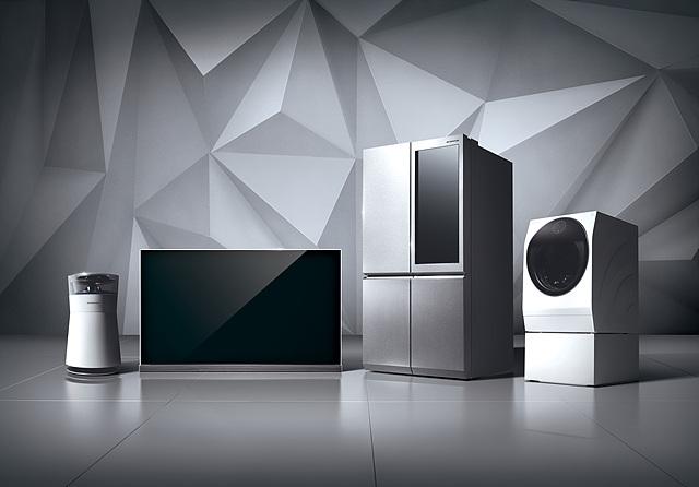 LG 시그니처 공기청정기, 올레드 TV, 냉장고, 세탁기의 모습입니다.