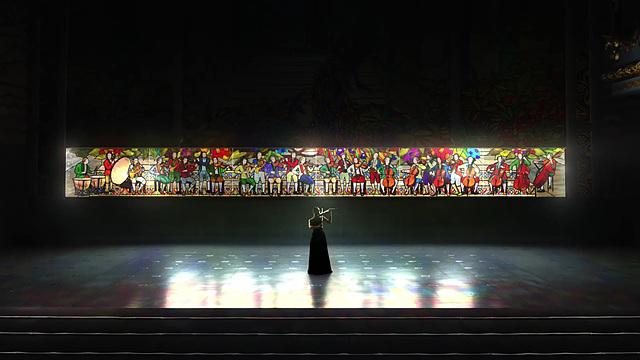 바이올리니스트, 알레나 바에바가 바이올린을 연주하면서 LG 시그니처 올레드 TV 광고를 찍고 있는 모습