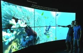 영국 자연사박물관에 설치된 올레드 TV: LG전자는 자연사박물관이 15일부터 11월 6일까지 4개월 간 진행하는 '컬러와 비전(Colour & Vision)' 展에서 65형 곡면 울트라 올레드 TV(모델명: 65EG960V) 6대, 55형 울트라 올레드 TV(모델명: 55EF950V) 6대 등 올레드 TV 12대를 설치했다. 자연사박물관은 색의 아름다움을 제대로 감상할 수 있는 디스플레이로 LG 올레드 TV를 선택했다. 18일, 영국 자연사박물관을 방문한 관람객이 LG 올레드 TV의 차원이 다른 화질을 감상하고 있다.