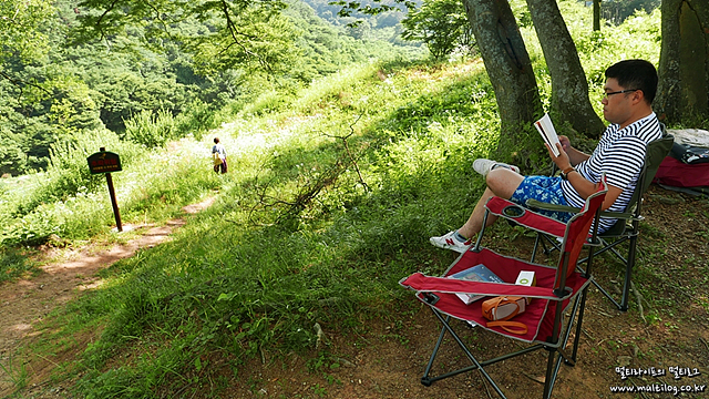 야외에서 앉아 책을 읽고 있는 모습