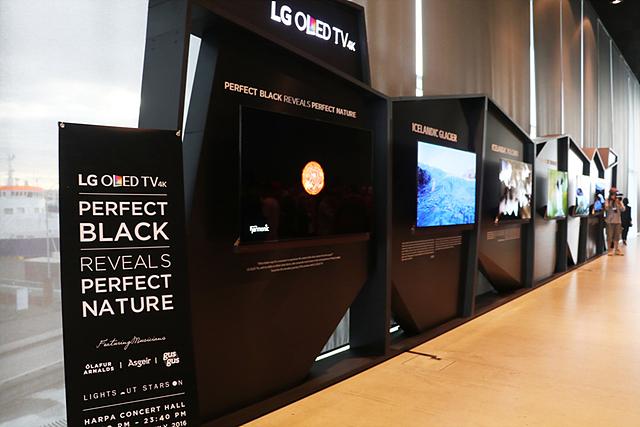 LG OLED TV와 함께 X배너가 세워져 있습니다.