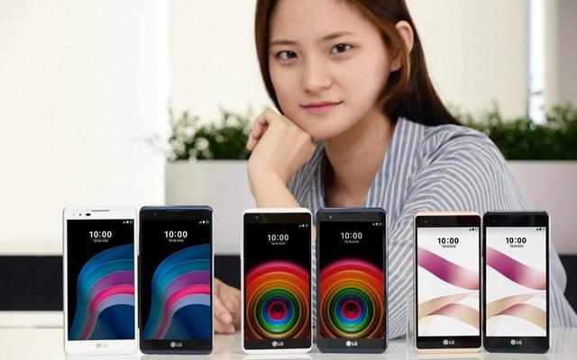 LG전자 사내 모델이 프리미엄급 개성을 갖춘 보급형 제품 'X5(왼쪽)', 'X 파워(가운데)', 'X 스킨(오른쪽)'과 포즈를 취하고 있다. LG전자는 8일 'X5', 'X 파워'를 출시, 총 5종의 'X 시리즈' 라인업을 갖추고 국내 보급형 시장을 적극 공략한다.