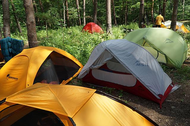 캠핑장에서 본 알록달록한 텐트 모습
