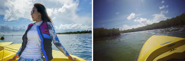 직접 보트를 운전해 볼 수 있는 정글 투어의 모습으로, 산호와 각종 열대어를 만날 수 있는 짜릿한 스노클링까지 즐길 수 있습니다.