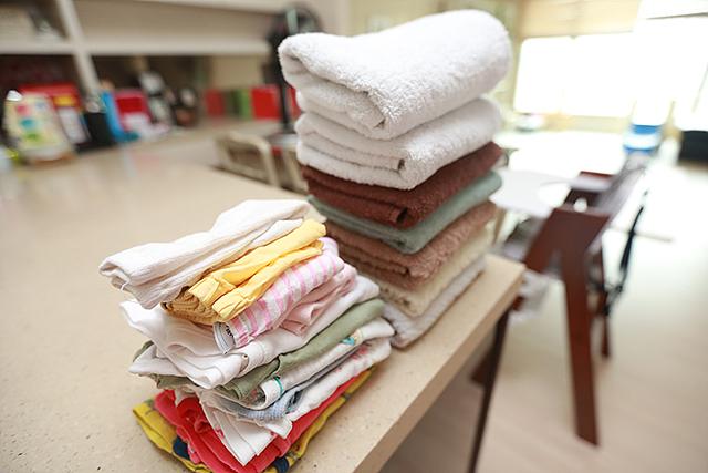 건조기를 이용해 건조 후에 바로 수건, 속옷 등을 갠 모습