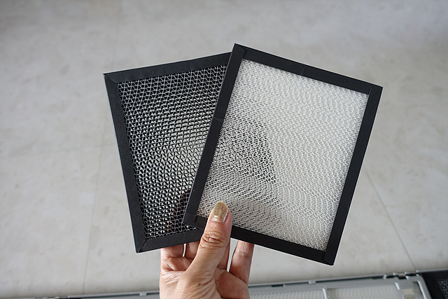 LG 휘센 듀얼 에어컨 필터 2개를 들고 있는 모습입니다.