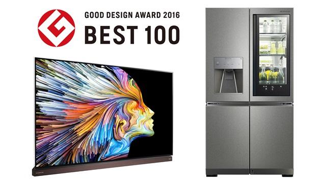 : 일본디자인진흥회가 발표한 '굿 디자인상 2016(Good Design Award 2016)'에서 'Best 100'에 선정된 'LG 시그니처 올레드 TV'와 'LG 시그니처 냉장고'