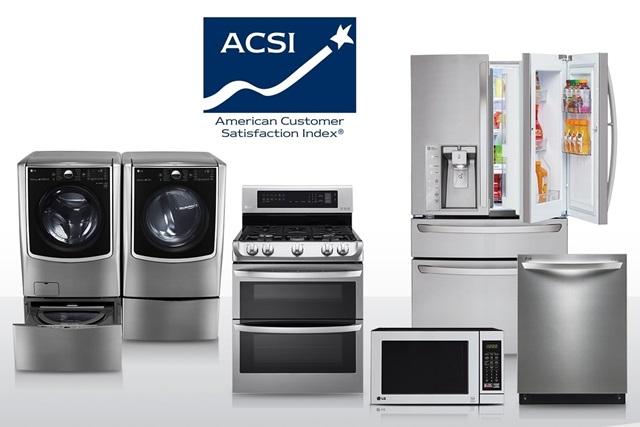 2년 연속으로 미국 소비자들의 만족도가 가장 높은 브랜드로 선정된 LG전자 주요 가전 제품(왼쪽부터 세탁기, 건조기, 오븐, 레인지, 냉장고, 식기세척기). 미국 소비자만족지수협회(ACSI, American Customer Satisfaction Index)는 최근 LG전자가 가전 분야(Household Appliances) 소비자 만족도 평가에서 2년 연속 1위에 올랐다고 밝혔다.