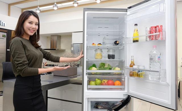 서울 마포구 신촌로에 있는 LG 베스트샵 동교점 매장에서 모델이 LG전자의 상냉장∙하냉동 2도어 냉장고 신제품을 소개하고 있다.