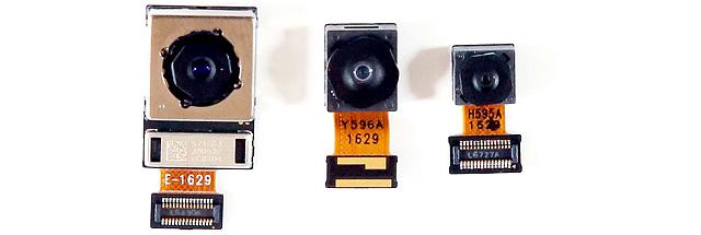 왼쪽부터 후면 75도 일반각(OIS 탑재), 전면 120도 광각, 후면 135도 광각