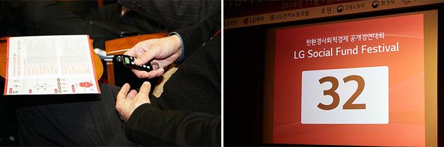 LG 소셜펀드 참가 기업에 투표하고 있는 모습