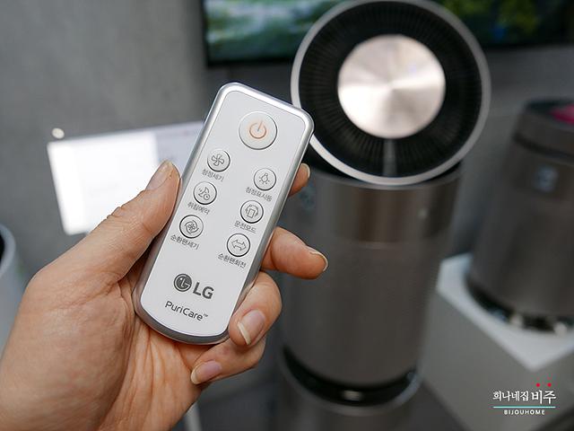LG 퓨리케어 공기청정기 리모컨의 모습