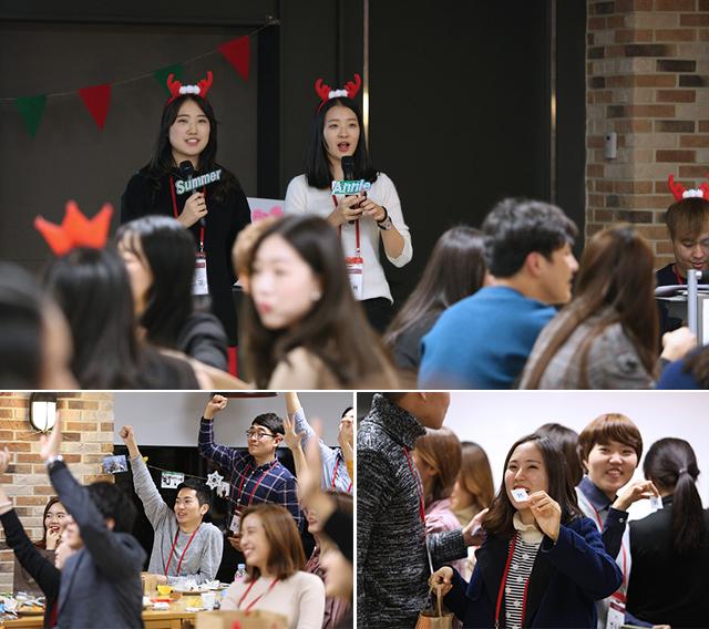 2부 사회를 맡은 고영경 지니, 김신하 지니(상단), 마니또와의 선물교환 중인 러브지니들(하단)
