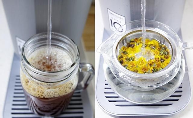 LG 퓨리케어 정수기를 이용해 커피와 차를 만드는 모습