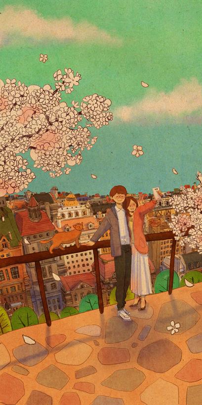 꽃아래에서