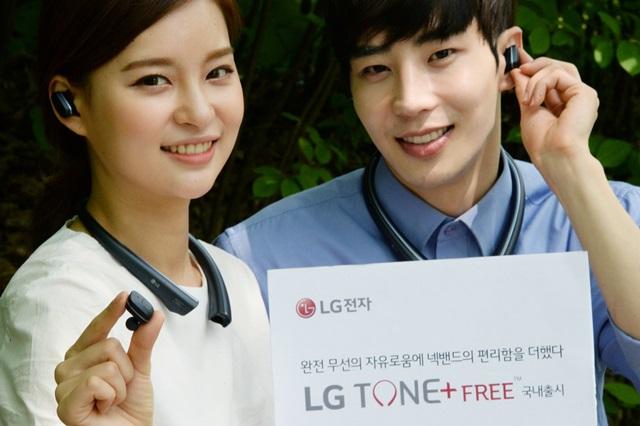 LG전자는 22일 목에 거는 넥밴드(Neck band)와 귀에 꽂는 이어버드(Earbud) 사이의 선까지 없앤 완전 무선 블루투스 헤드셋 'LG 톤 플러스 프리(LG TONE+ FREE™, 모델명 HBS-F110)'를 국내 출시한다. LG전자 모델이 완전 무선의 자유로움에 넥밴드의 편리함을 더한 'LG 톤 플러스 프리'를 소개하고 있다.