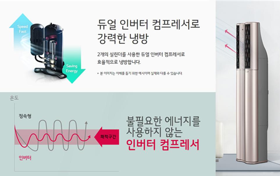'LG 휘센 듀얼 에어컨'에 적용한 '듀얼 인버터 컴프레서'