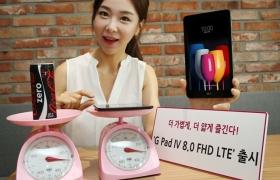 : LG전자가 4일 가벼운 무게와 얇은 디자인에도 탁월한 성능을 갖춘 태블릿PC G패드4 8인치 FHD LTE를 출시한다. 이 제품은 무게가 콜라캔 1개와 비슷한 290g에 불과해 여성이나 청소년들이 들고 다니기에도 부담이 없고 핸드백이나 파우치는 물론 양복 상의 안주머니에 넣는 것도 가능하다. 출고가는 35만2천원.