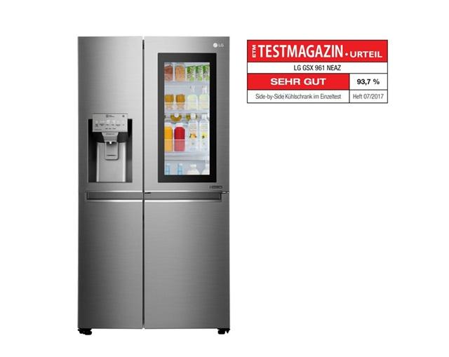 LG전자 냉장고가 최근 독일, 프랑스, 호주 등 해외 주요 소비자 잡지가 실시한 성능 평가에서 연이어 최고 평가를 받았다. 평가 기관들은 LG 냉장고의 성능과 편의성, 에너지 효율을 특히 높게 평가했다. 사진은 LG전자 노크온 매직스페이스 냉장고와 독일 3대 소비자 잡지 가운데 하나인 엠포리오 테스트 매거진의 로고.