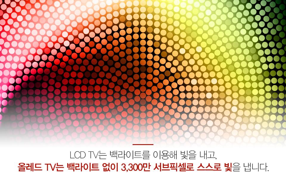 LCD TV는 백라이트를 이용해 빛을 내고, 올레드 TV는 백라이트 없이 3,300만 서브픽셀로 스스로 빛을 냅니다.