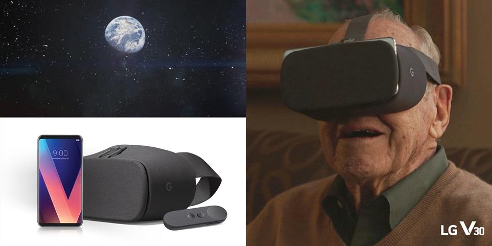 """LG전자는 1970년 달 착륙에 실패한 우주비행사 짐 러벨(Jim Lovell, 90세)이 LG V30와 구글 데이드림 뷰로 달 착륙 VR 콘텐츠를 체험하는 영상을 28일 페이스북 등 SNS에 공개했다. 짐 러벨은 달 착륙을 위해 우주를 비행하던 중 산소 탱크가 폭발하는 사고를 당하고도 승무원 전원이 기적적으로 생환했던 아폴로 13호의 실제 선장이다. 이번 영상에서 짐 러벨은 47년 전 경험하지 못했던 달 착륙 순간을 LG V30를 이용한 가상현실로 생생하게 체험한다. 첨단 VR 기술로 꿈이 현실이 되는 경험을 한 짐 러벨은 """"꿈을 꾸는 한 실패는 없다""""는 메시지로 깊은 감동과 여운을 남긴다."""