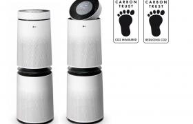 공기청정기로는 세계 최초로 英 '카본 트러스트'의 '탄소발자국' 2개 인증을 동시 획득한 LG 퓨리케어 360° 공기청정기