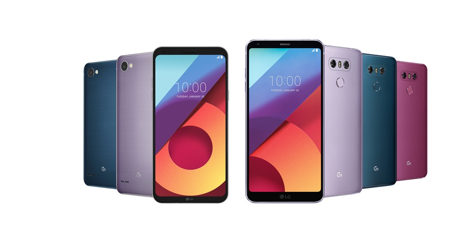사진은 2월 중 새롭게 추가되는 LG G6 모로칸 블루, 라벤더 바이올렛, 라즈베리 로즈 색상(우측)과 LG Q6 모로칸 블루, 라벤더 바이올렛 색상