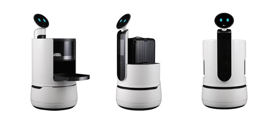 LG전자가 오는 9일 美 라스베이거스에서 개막하는 'CES 2018'에서 호텔, 대형 슈퍼마켓 등에서 사용 가능한 신규 컨셉 로봇 3종을 선보인다. (왼쪽부터) 서빙 로봇, 포터 로봇, 쇼핑 카트 로봇