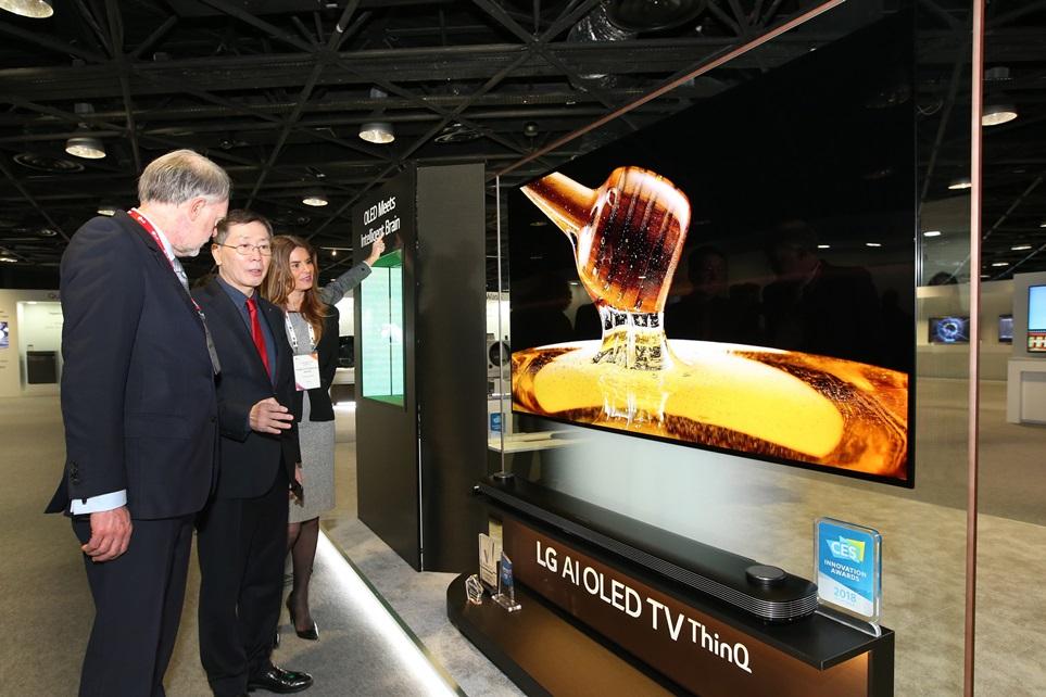 LG전자 유럽지역대표 나영배 부사장이 현지 거래선 관계자들에게 제품 설명하는 모습