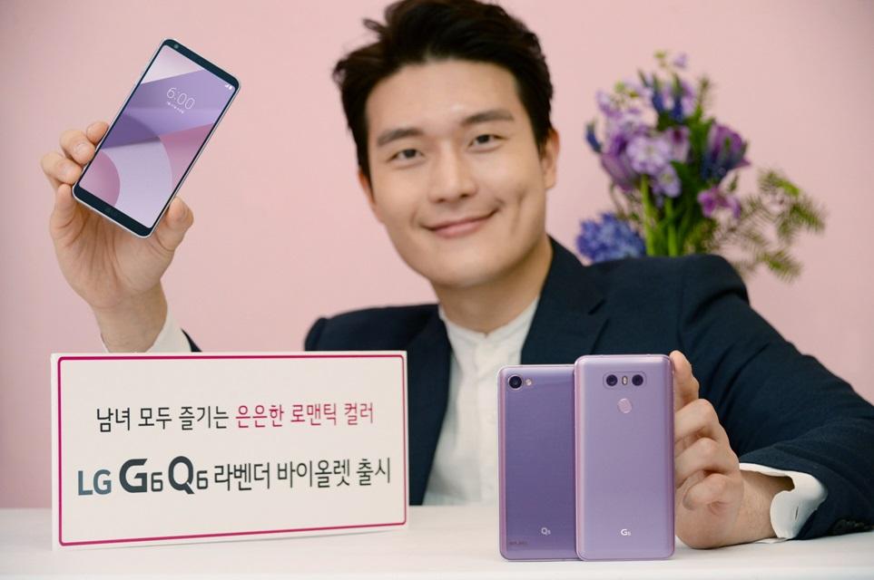 "LG전자가 21일 이동통신 3사를 통해 LG V30의 인기 색상 '라벤더 바이올렛'을 적용한 LG G6와 LG Q6를 출시한다. IT전문매체 안드로이드 센트럴(Android Central)은 ""라벤더 바이올렛은 라벤더에 더 가까운 색상으로 어두울 때는 하늘색, 밝을 때는 실버의 느낌이 든다. 이런 색상의 폰은 거의 없기 때문에 아주 돋보인다""고 평가하기도 했다. LG전자 모델이 남녀 구분 없이 누구에게나 잘 어울리는 은은하고 로맨틱한 색상의 LG G6/Q6 라벤더 바이올렛을 소개하고 있다."