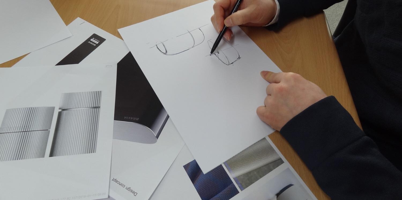 LG 공중부양 스피커 스케치 모습