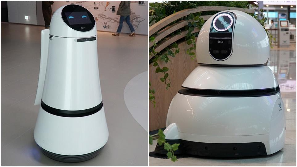안내로봇(왼쪽)과 청소로봇(오른쪽)