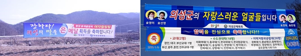 경북 의성에 걸린 '팀 킴' 응원 현수막