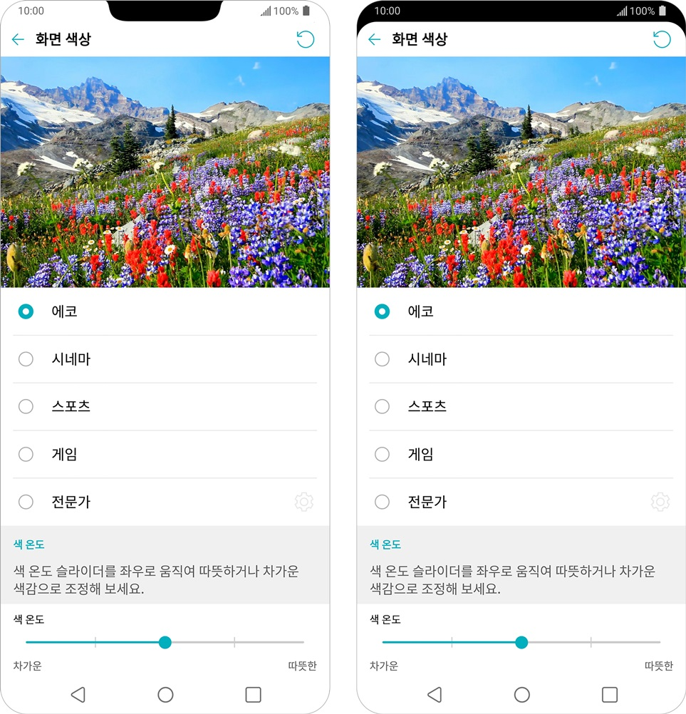 LG G7 ThinQ 가 스마트폰 중 가장 밝으면서도 풍성한 색을 나타내는 고화질 디스플레이를 탑재한다. 저전력 알고리즘으로 소비전력은 전작인 LG G6 대비 최대 30% 줄여준다. 사진은 ▲에코 ▲시네마 ▲스포츠 ▲게임 ▲전문가 등 즐기고 싶은 콘텐츠의 종류에 맞춰 모드를 선택하는 장면. 상단 베젤 부분은 상태 표시줄로 쓰거나 메인 화면과 합쳐 하나의 화면으로 넓게 사용하는 것도 가능한 '뉴세컨드 스크린'으로 채웠다.