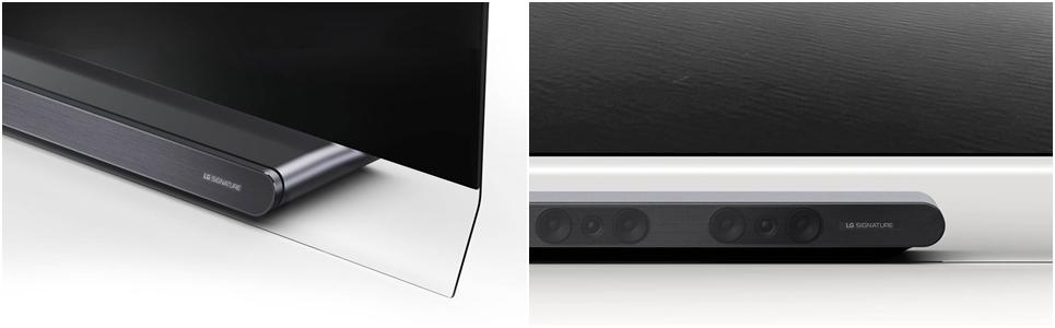 LG SIGNATURE 올레드 TV W의 플로팅 글래스 스탠드