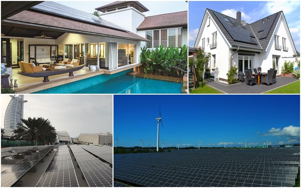 LG전자 패널로 구성한 태양광시스템, 왼쪽 위부터 시계방향으로 태국, 독일, 일본, 두바이 설치사례
