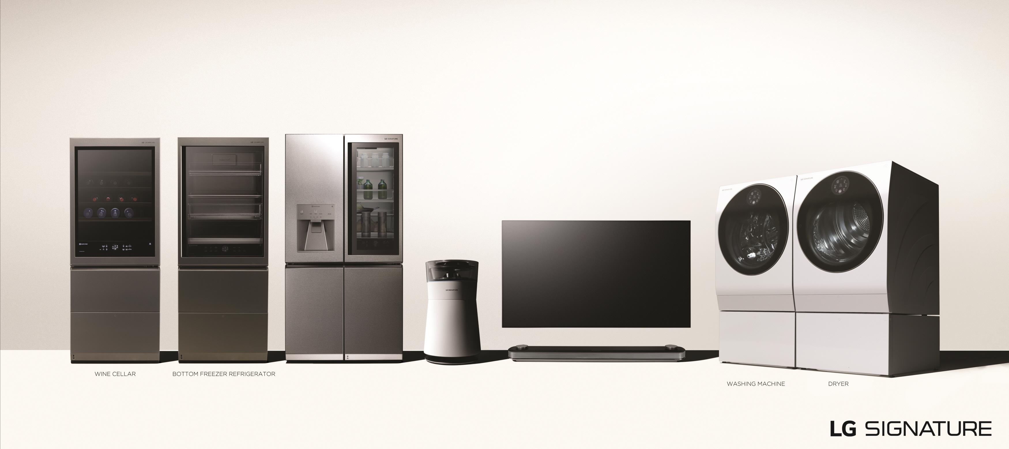 LG전자의 초프리미엄 가전 'LG 시그니처'의 전 제품 이미지. 왼쪽부터 와인셀러, 상냉장 하냉동 냉장고, 냉장고, 공기청정기, 올레드 TV, 세탁기, 건조기.