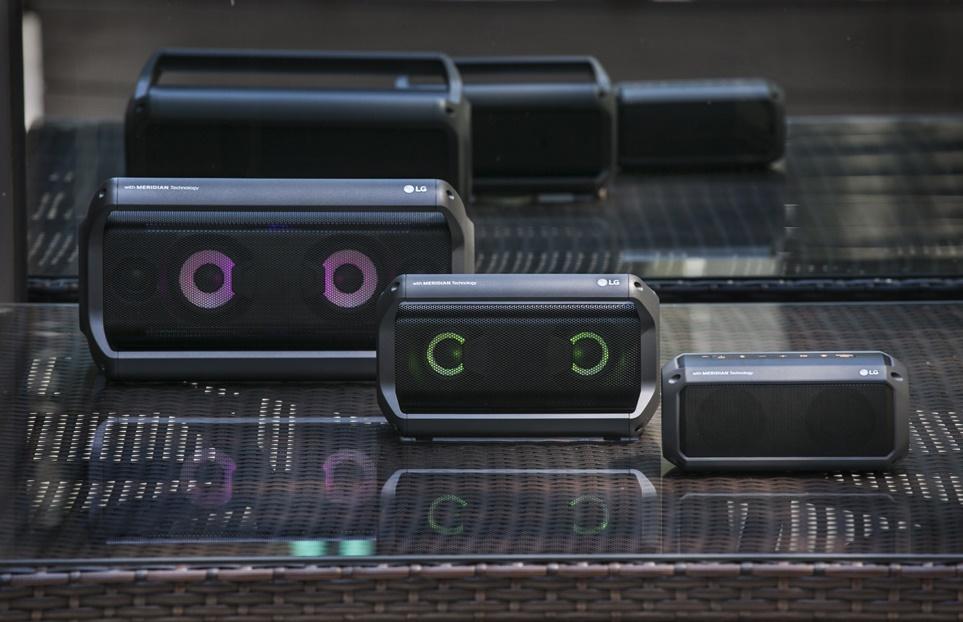 LG 엑스붐 Go 3종(왼쪽부터 PK7, PK5, PK3)