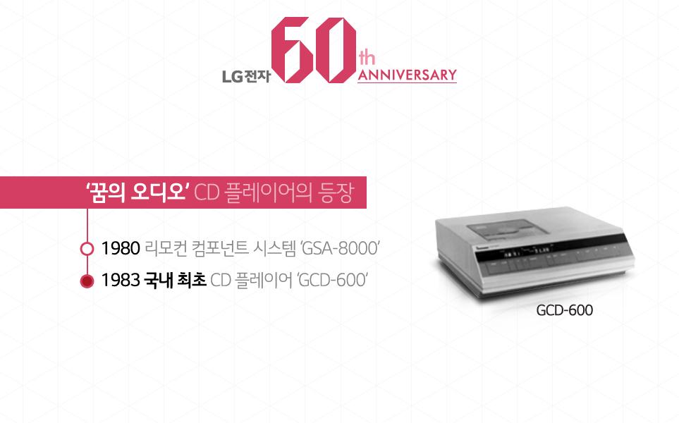 LG전자60th ANNIVERSARY '꿈의 오디오'CD플레이어의 등장 - 1980 리모컨 컴포넌트 시스템 GSA-8000,1983 국내최초 CD플레이어 GCD-600